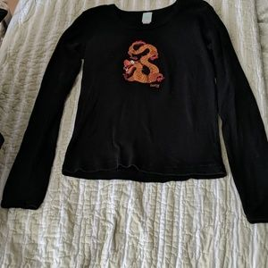 Lucy Long Sleeve Black T-shirt with Dragon